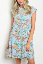 Blue Sleeveless Lace Mock Neck Vintage Floral Tunic Dress