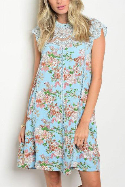 f706e7e22506 Blue Sleeveless Lace Mock Neck Vintage Floral Tunic Dress – Lady ...