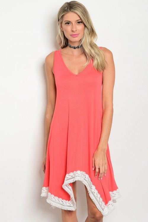 Coral Sleeveless Jersey Dress with White Trim