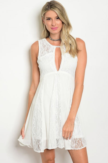 Off White Sleeveless Keyhole Neckline Lace Mini Dress