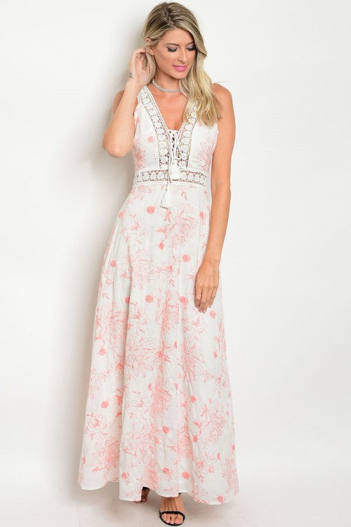 Ivory Peach Floral Embroidered Lace Detail Open Back Maxi Gown