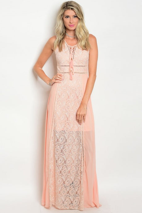 Peach Sleeveless Lace Detail Open Back Long Dress
