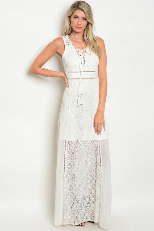 Off White Sleeveless Lace Detail Open Back Long Dress