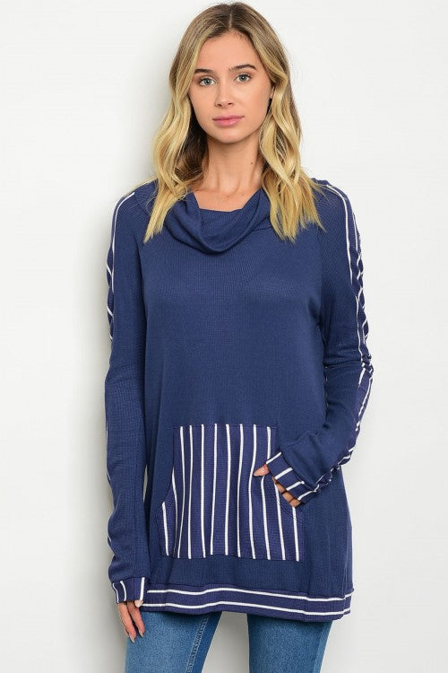 Navy Cowl Neck White Striped Long Sleeve Tunic Top