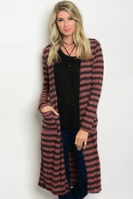 Dusty Rose Striped Black Open Front Knit Duster Cardigan