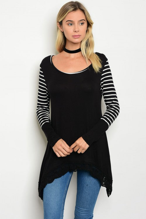 Black Scoop Neck White Striped Long Sleeve Tunic Top