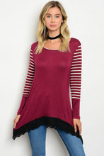 Burgundy Scoop Neck White Striped Long Sleeve Tunic Top