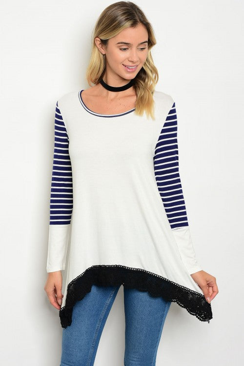 Ivory Scoop Neck Navy Striped Long Sleeve Tunic Top