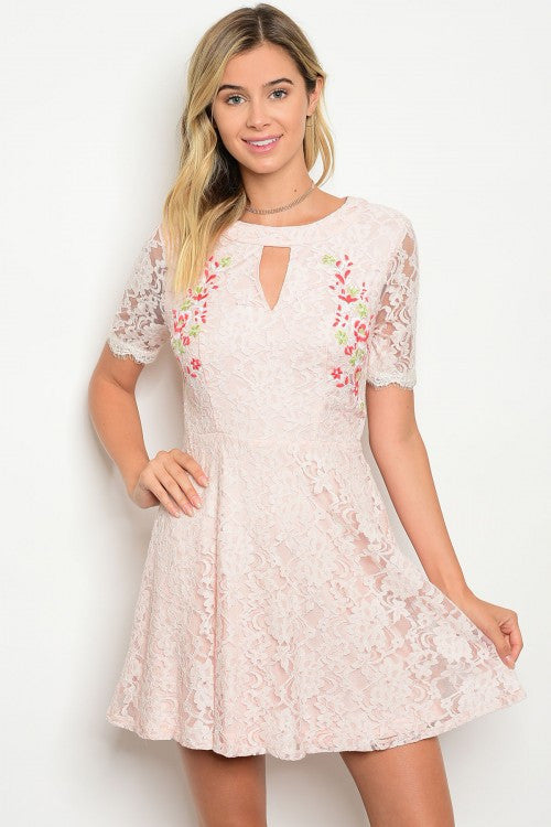 Peach Short Sleeve Lace Floral Detail Skater Dress