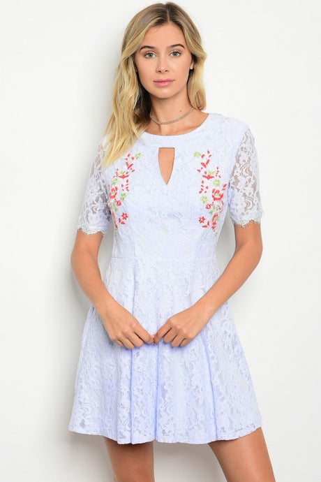 Light Blue Short Sleeve Lace Floral Detail Skater Dress