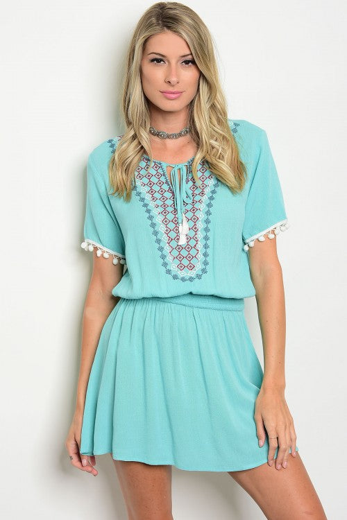 Aqua Embroidered Front Smoked Waist Dress