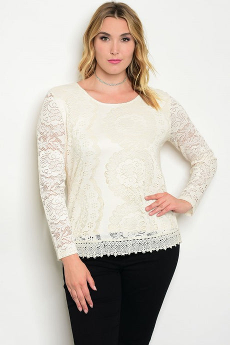 Ivory Cream Long Sleeve Lace Top - Plus Size