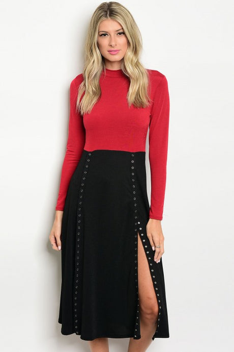 Burgundy Black Color Block Long Sleeve Snap Button Dress