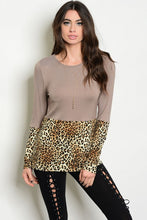 Leopard Print Tan Color Block Long sleeve Top