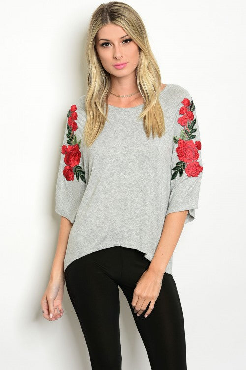 Heather Gray Floral Sleeve Jersey Top