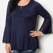 Navy Lace Detail Long Sleeve Tunic Top - Plus Size