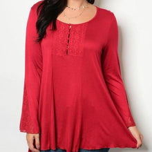 Red Lace Detail Long Sleeve Tunic Top - Plus Size