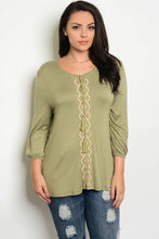 Light Olive Embroidery Detail 3/4 Sleeve Peasant Top - Plus Size