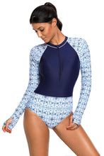 Navy and White Printed Zip Front Long Sleeve Rash Guard One Piece Swimsuit