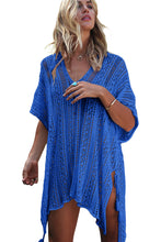 Blue Knitted Crochet Tassel Tie Kimono Beachwear Cover Up