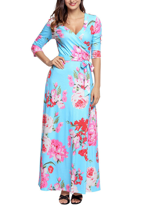 Light Blue Pink Floral Wrap Maxi Dress