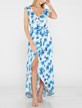 Blue Flower Ruffle Jersey Maxi Dress
