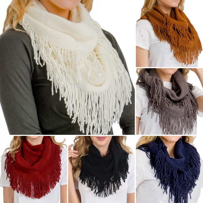 Ribbed Knit Super Soft Fringed Infinity Scarves in 6 Colors