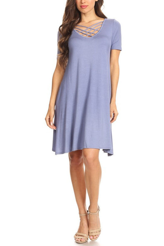 Slate Blue Jersey Knit A-line Dress