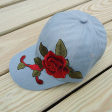 Light Blue Floral Embroidered Trucker Hat