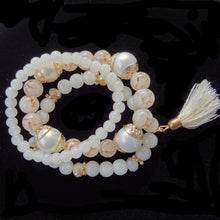 Ivory Crystal & Rhinestone Beads Elastic Bracelet Jewelry Set of 3
