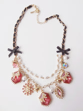 Pink Rhinestone Gold Tone Black Ribbon Necklace