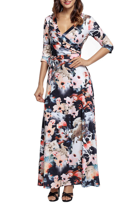 Multi Dark Floral 3/4 Sleeve Wrapped Belted Maxi Dress