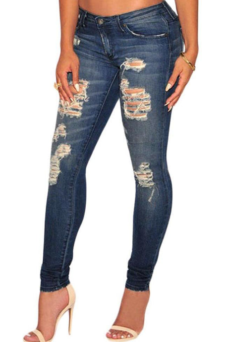 Dark Sandblast Wash Destroyed Denim Skinny Jeans
