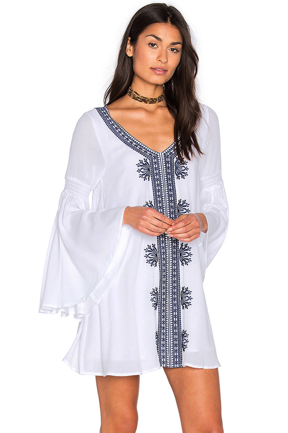 White Embroidered Bell Sleeve Cover Up