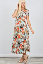 Coral Grey Elastic Waist Short Sleeve Floral Knit Pocket Dress