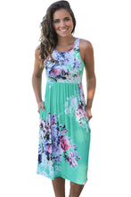 Mint Floral Print Sleeveless Pocket Dress