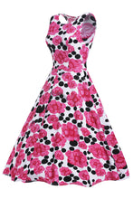 Pink Floral Black Dot Swing Skater Dress