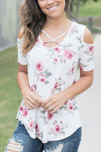 White Floral Crisscross Neck Cold Shoulder Top