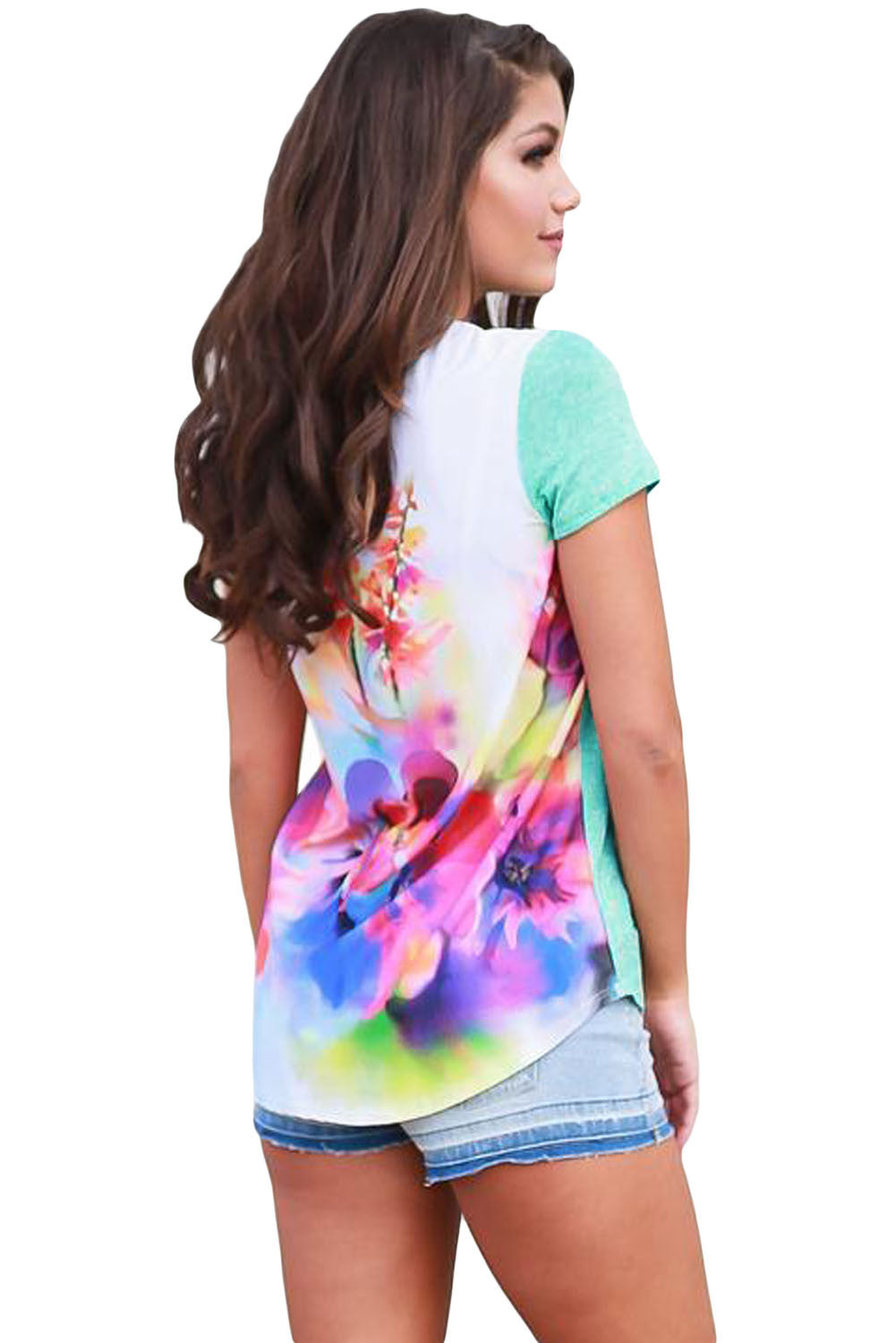Floral Back Light Green Front Short Sleeve Top
