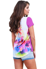 Floral Back Purple Front Short Sleeve Top