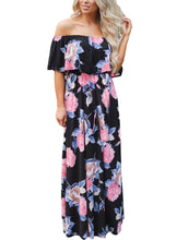 Black Off Shoulder Pink Floral Ruffle Maxi Dress