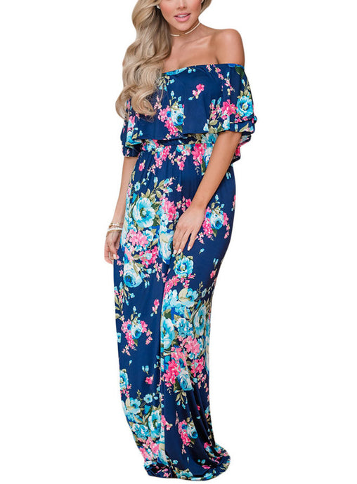 Dark Blue Floral Off Shoulder Ruffle Maxi Dress