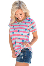 Light Gray Pink Striped Star Print Short Sleeve Knot Tee Top