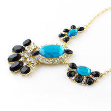 Turquoise and Black Rhinestone Flower Gold Tone Statement Necklace