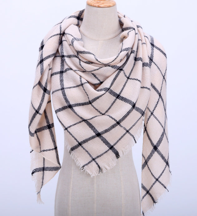 Fall Winter Plaid Acrylic Triangle Scarf - Beige with Black Stripes