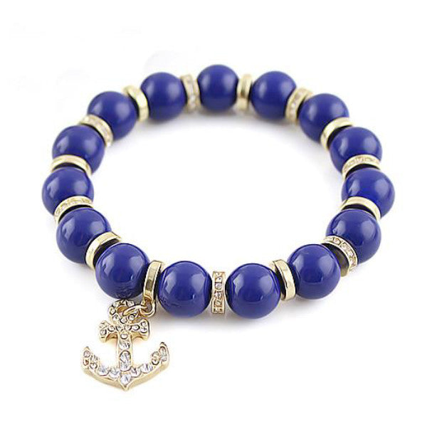 Blue Beads Elastic Anchor Bracelet