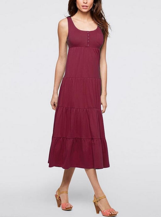 Burgundy Casual Sleeveless U Collar Button Detail Tiered Beach Dress