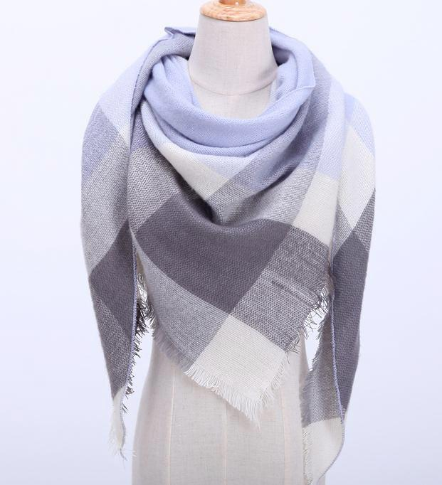 Fall Winter Plaid Acrylic Triangle Scarf - Gray and White