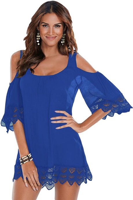 Royal Blue Crochet Lace Crinkle Cold Shoulder Beach Cover Up