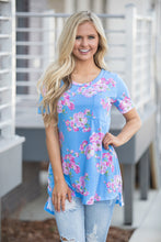 Blue Floral Short Sleeve Pocket Hi Low Long T-shirt Top